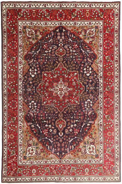 Tabriz Teppe 207X315 Ekte Orientalsk Håndknyttet Mørk Rød/Mørk Brun (Ull, Persia/Iran)