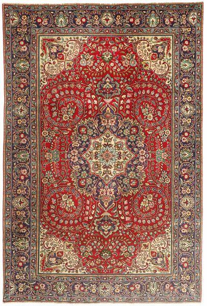 Tabriz Teppe 200X297 Ekte Orientalsk Håndknyttet Mørk Brun/Mørk Rød (Ull, Persia/Iran)