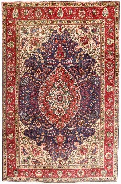 Tabriz Teppe 200X302 Ekte Orientalsk Håndknyttet Mørk Rød/Mørk Brun (Ull, Persia/Iran)