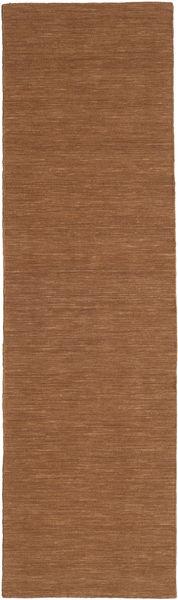 Kelim Loom - Brun Teppe 80X300 Ekte Moderne Håndvevd Teppeløpere Brun (Ull, India)