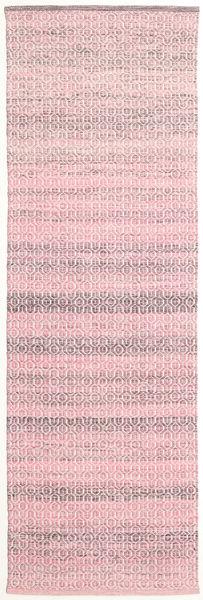 Alva - Pink/Vit Teppe 80X250 Ekte Moderne Håndvevd Teppeløpere Lyserosa/Lyselilla (Ull, India)