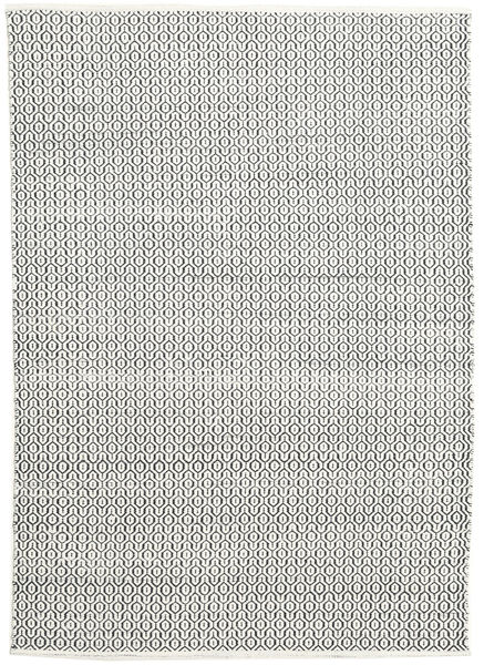 Alva - Vit/Svart Teppe 160X230 Ekte Moderne Håndvevd Lys Grå/Mørk Grå (Ull, India)