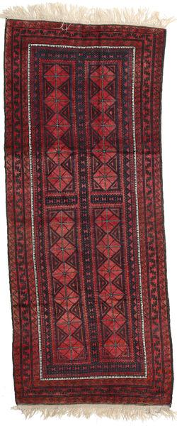 Afghan Khal Mohammadi Teppe 126X313 Ekte Orientalsk Håndknyttet Teppeløpere Mørk Rød/Svart (Ull, Afghanistan)