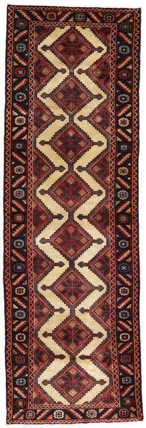 Hamadan Teppe 93X292 Ekte Orientalsk Håndknyttet Teppeløpere Mørk Rød/Svart (Ull, Persia/Iran)