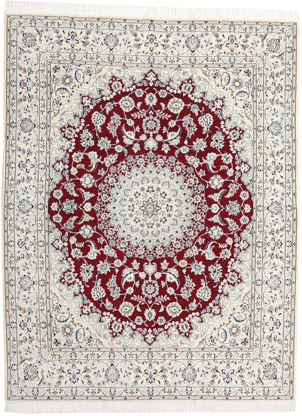 Nain 9La Teppe 202X262 Ekte Orientalsk Håndknyttet Lys Grå/Beige (Ull/Silke, Persia/Iran)