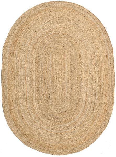 Utendørsteppe Frida Oval - Natural Teppe 160X230 Ekte Moderne Håndvevd Mørk Beige/Beige (Juteteppe India)