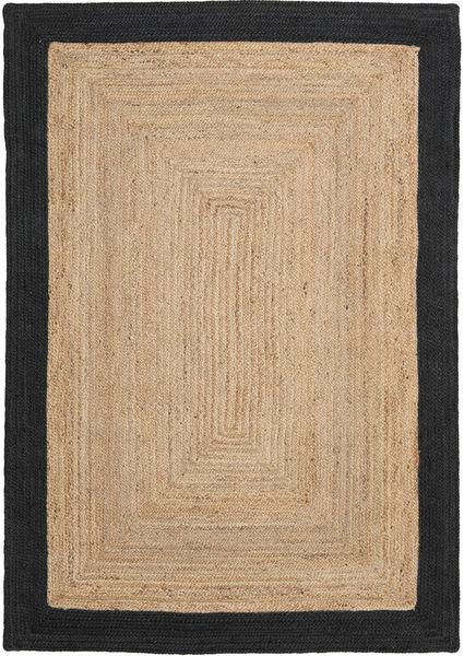 Frida Frame - Natural/Svart Teppe 160X230 Ekte Moderne Håndvevd Mørk Beige/Svart/Lysbrun ( India)