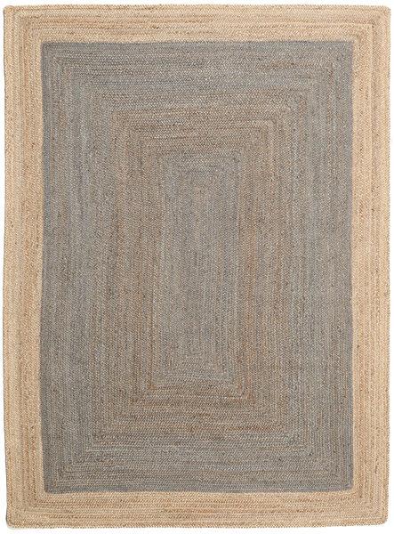 Utendørsteppe Frida Frame - Grå/Natural Teppe 160X230 Ekte Moderne Håndvevd Lys Grå/Beige (Juteteppe India)