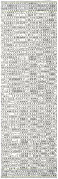 Norma - Grønn Teppe 80X250 Ekte Moderne Håndvevd Teppeløpere Lys Grå/Hvit/Creme (Bomull, India)