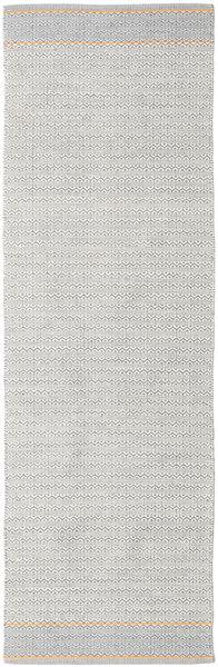 Norma - Gul Teppe 80X350 Ekte Moderne Håndvevd Teppeløpere Lys Grå/Hvit/Creme (Bomull, India)