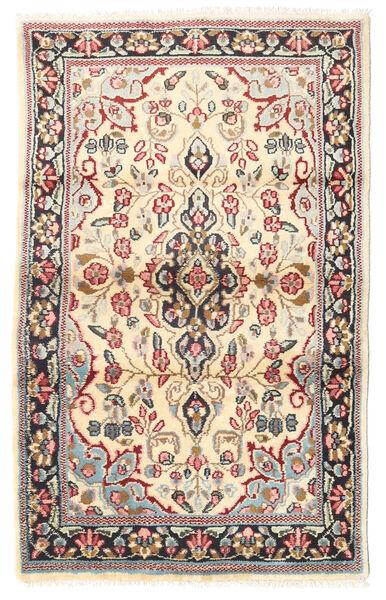 Kerman Teppe 88X140 Ekte Orientalsk Håndknyttet Lysbrun/Beige (Ull, Persia/Iran)