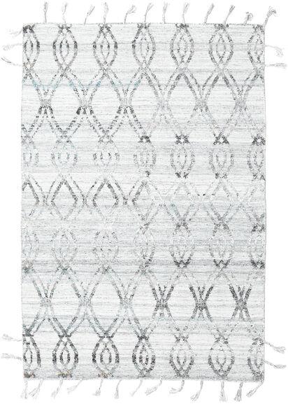 Pet Yarn Kelim Teppe 164X240 Ekte Moderne Håndvevd Lys Grå/Hvit/Creme ( India)