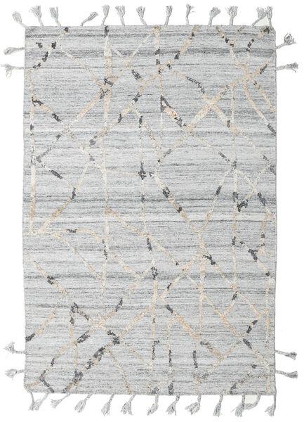 Pet Yarn Kelim Teppe 162X238 Ekte Moderne Håndvevd Lys Grå/Beige ( India)