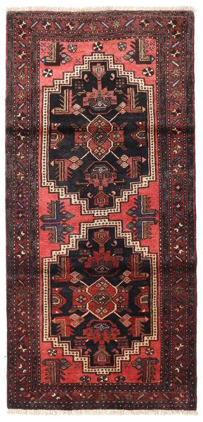 Zanjan Teppe 96X202 Ekte Orientalsk Håndknyttet Svart/Mørk Rød (Ull, Persia/Iran)