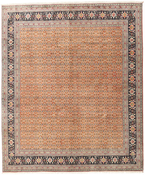 Tabriz 40 Raj Teppe 245X297 Ekte Orientalsk Håndknyttet Mørk Brun/Mørk Rød (Ull/Silke, Persia/Iran)