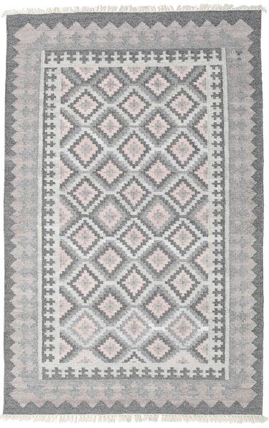 Pet Yarn Kelim Teppe 160X230 Ekte Moderne Håndvevd Lys Grå/Mørk Grå ( India)