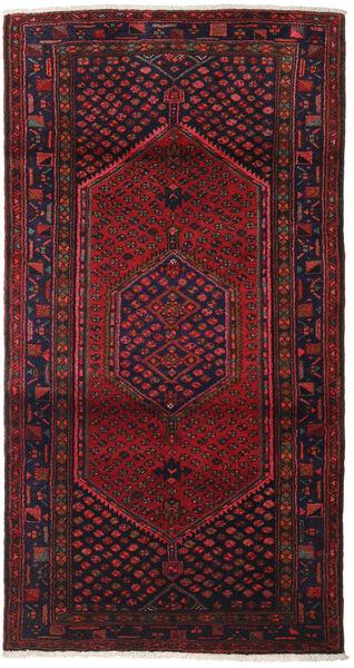 Hamadan Teppe 102X198 Ekte Orientalsk Håndknyttet Mørk Rød/Mørk Brun (Ull, Persia/Iran)