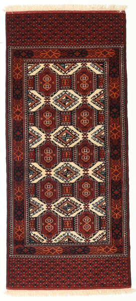Turkaman Teppe 84X187 Ekte Orientalsk Håndknyttet Teppeløpere Mørk Rød/Mørk Brun (Ull, Persia/Iran)