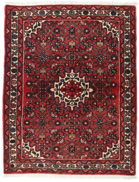 Hamadan Teppe 113X142 Ekte Orientalsk Håndknyttet Mørk Rød/Mørk Brun (Ull, Persia/Iran)