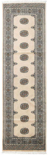 Pakistan Bokhara 2Ply Teppe 78X258 Ekte Orientalsk Håndknyttet Teppeløpere Beige/Mørk Grå/Lys Grå (Ull, Pakistan)