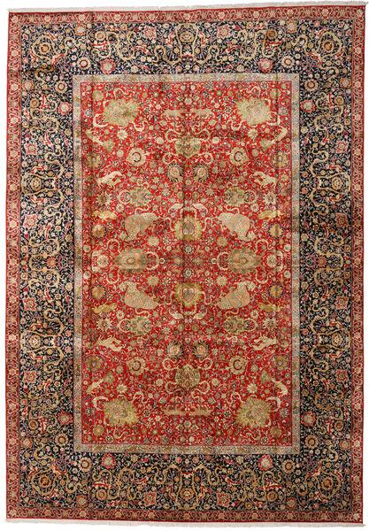 Kashmir Ren Silke Teppe 303X436 Ekte Orientalsk Håndknyttet Mørk Brun/Rust Stort (Silke, India)