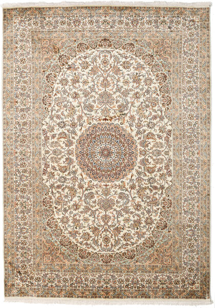 Kashmir Ren Silke Teppe 175X249 Ekte Orientalsk Håndknyttet Beige/Lys Grå (Silke, India)