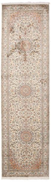 Kashmir Ren Silke Teppe 84X300 Ekte Orientalsk Håndknyttet Teppeløpere Lys Grå/Hvit/Creme (Silke, India)