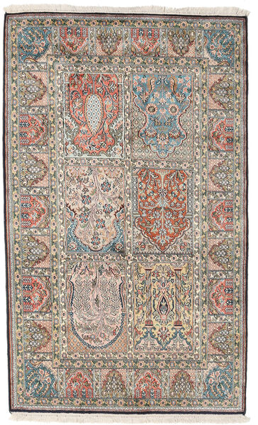 Kashmir Ren Silke Teppe 98X161 Ekte Orientalsk Håndknyttet Lys Grå/Mørk Grå (Silke, India)