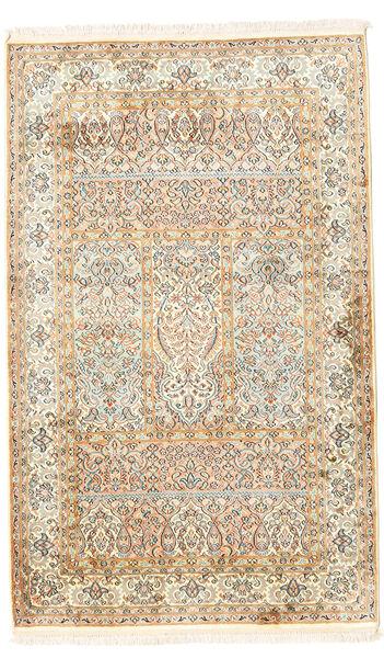 Kashmir Ren Silke Teppe 96X154 Ekte Orientalsk Håndknyttet Beige/Mørk Beige (Silke, India)