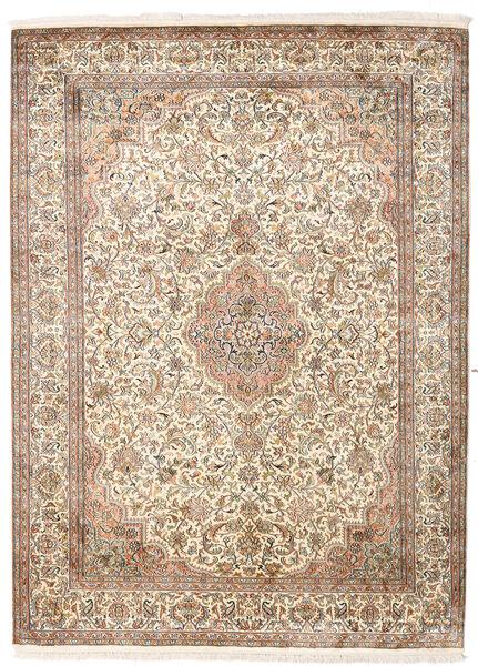 Kashmir Ren Silke Teppe 160X217 Ekte Orientalsk Håndknyttet Beige/Lysbrun (Silke, India)