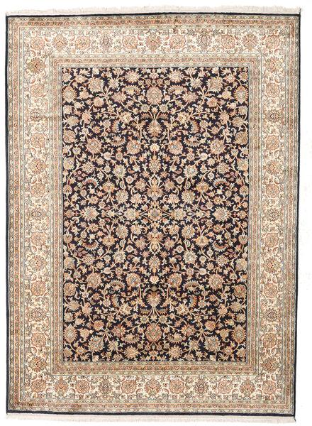 Kashmir Ren Silke Teppe 158X218 Ekte Orientalsk Håndknyttet Beige/Mørk Grå (Silke, India)