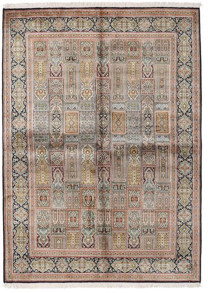 Kashmir Ren Silke Teppe 155X214 Ekte Orientalsk Håndknyttet Lys Grå/Brun (Silke, India)