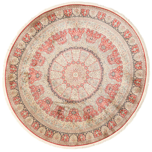 Kashmir Ren Silke Teppe Ø 247 Ekte Orientalsk Håndknyttet Rundt Lyserosa/Beige (Silke, India)