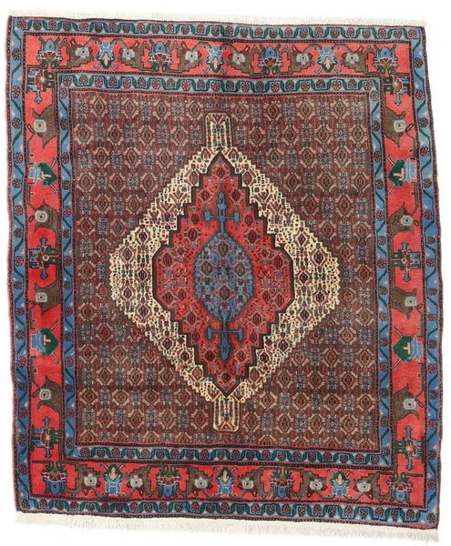 Senneh Teppe 136X157 Ekte Orientalsk Håndknyttet Mørk Brun/Mørk Rød (Ull, Persia/Iran)