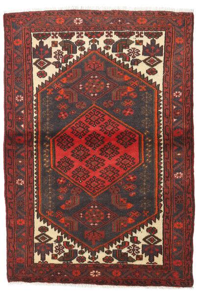 Hamadan Teppe 103X150 Ekte Orientalsk Håndknyttet Mørk Rød/Mørk Brun (Ull, Persia/Iran)