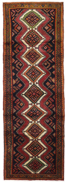 Hamadan Teppe 95X278 Ekte Orientalsk Håndknyttet Teppeløpere Mørk Brun/Mørk Rød (Ull, Persia/Iran)