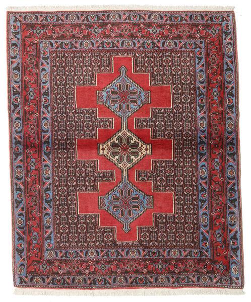 Senneh Teppe 127X154 Ekte Orientalsk Håndknyttet Mørk Brun/Mørk Rød (Ull, Persia/Iran)