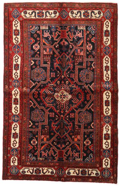 Hamadan Teppe 155X246 Ekte Orientalsk Håndknyttet Mørk Rød/Svart (Ull, Persia/Iran)
