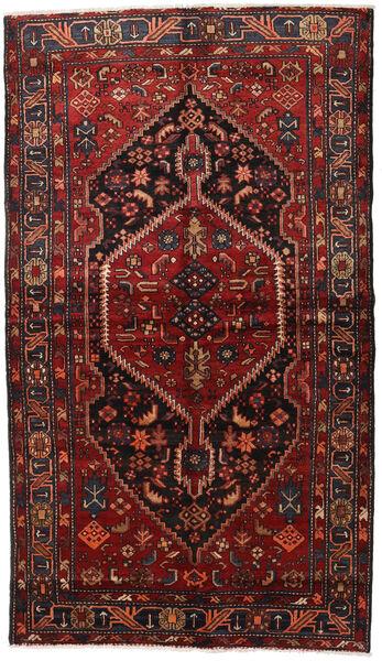 Hamadan Teppe 150X262 Ekte Orientalsk Håndknyttet Mørk Rød/Svart (Ull, Persia/Iran)