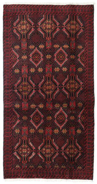 Beluch Teppe 98X186 Ekte Orientalsk Håndknyttet Mørk Rød/Mørk Brun (Ull, Persia/Iran)