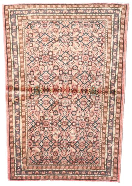 Hosseinabad Teppe 102X145 Ekte Orientalsk Håndknyttet Lyserosa/Lysbrun (Ull, Persia/Iran)
