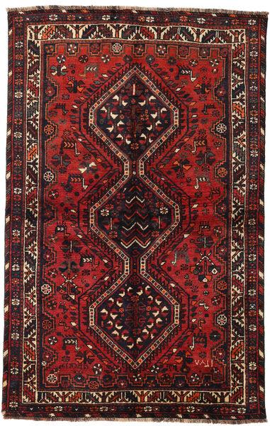 Shiraz Teppe 145X228 Ekte Orientalsk Håndknyttet Mørk Rød/Svart (Ull, Persia/Iran)