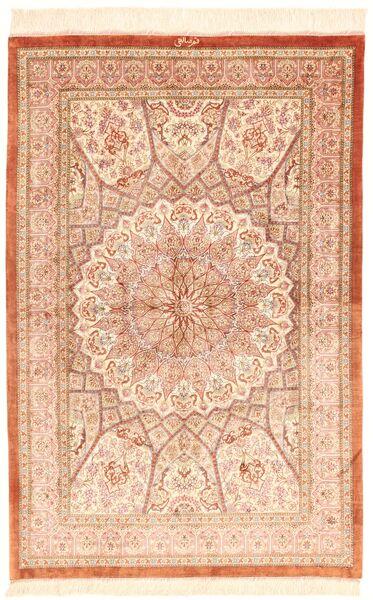 Ghom Silke Teppe 97X146 Ekte Orientalsk Håndvevd Lyserosa/Beige (Silke, Persia/Iran)