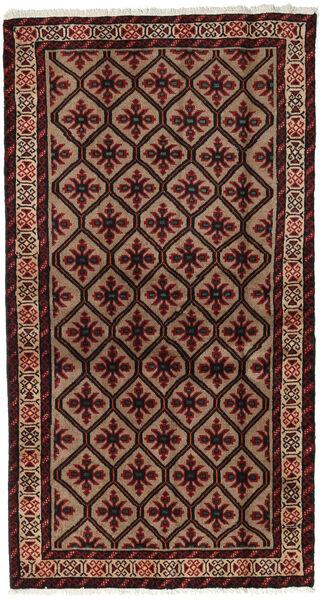 Beluch Teppe 101X185 Ekte Orientalsk Håndknyttet Mørk Brun/Mørk Rød (Ull, Persia/Iran)