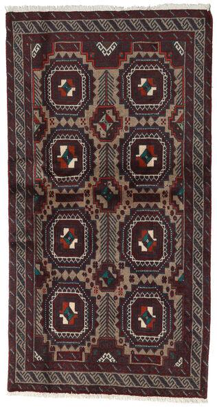 Beluch Teppe 98X183 Ekte Orientalsk Håndknyttet Svart/Mørk Rød (Ull, Persia/Iran)