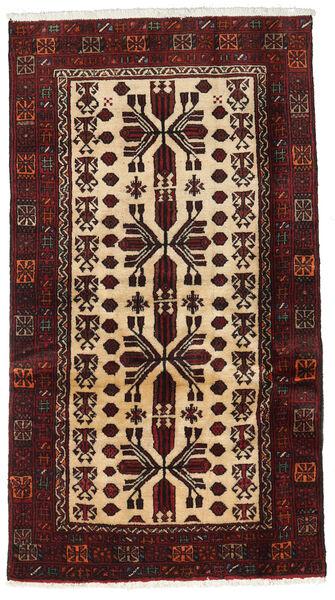 Beluch Teppe 90X165 Ekte Orientalsk Håndknyttet Mørk Rød/Beige (Ull, Persia/Iran)