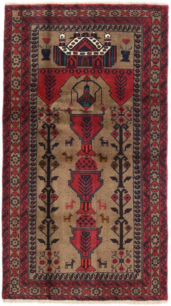 Beluch Teppe 100X178 Ekte Orientalsk Håndknyttet Mørk Rød/Brun (Ull, Persia/Iran)
