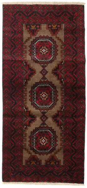 Beluch Teppe 90X194 Ekte Orientalsk Håndknyttet Mørk Brun/Mørk Rød (Ull, Persia/Iran)
