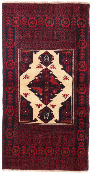 Beluch Teppe 85X163 Ekte Orientalsk Håndknyttet Svart/Mørk Rød (Ull, Persia/Iran)