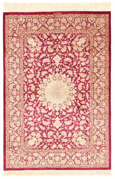 Ghom Silke Teppe 100X145 Ekte Orientalsk Håndknyttet Lyserosa/Beige/Mørk Rød (Silke, Persia/Iran)